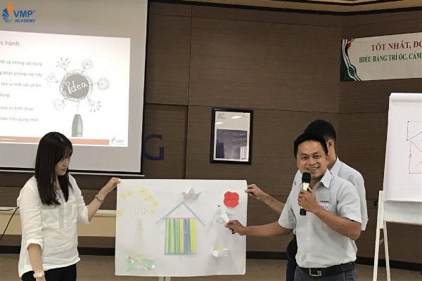 Học viên Hyosung dùng phương pháp brainstorming để sáng tạo tại lớp